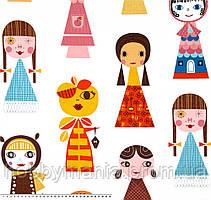 Куколки, Оранжевый, Желтый, Голубой, хлопковая дизайнерская ткань. PL-5
