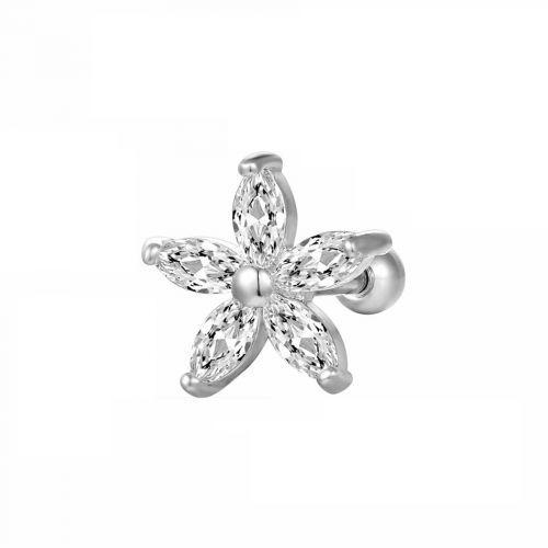 Серьга в хрящ цветок с кристаллами