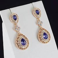 Прелестные серьги с кристаллами Swarovski, покрытые золотом 0931