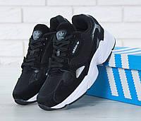 Кроссовки женские черные с белым стильные модные от Adidas Falcon Адидас Фалкон