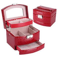 Шкатулка - автомат для украшений красная и темно-красная (15,5-13-12см)