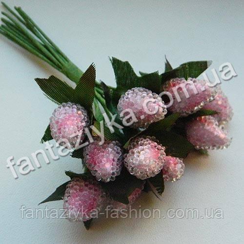 Искусственная малина розовая, в пучке 10 штук