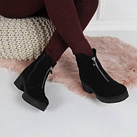 Ботинки зимние  натуральная замша спереди молния код 22223, фото 1