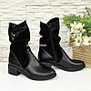 Женские зимние ботинки на невысоком каблуке классического пошива, фото 3