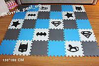 Игровой коврик пазл в детскую 150*180 см (30 шт, черный, белый, серый, голубой)