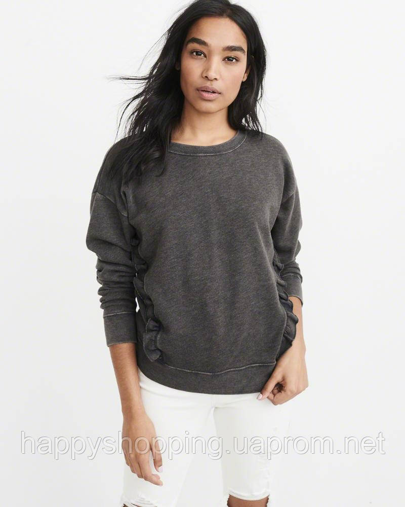 Женский серый свитшот с рюшами  Abercrombie & Fitch
