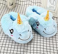 Дитячі закриті блакитні тапочки іграшки Єдинороги, фото 1