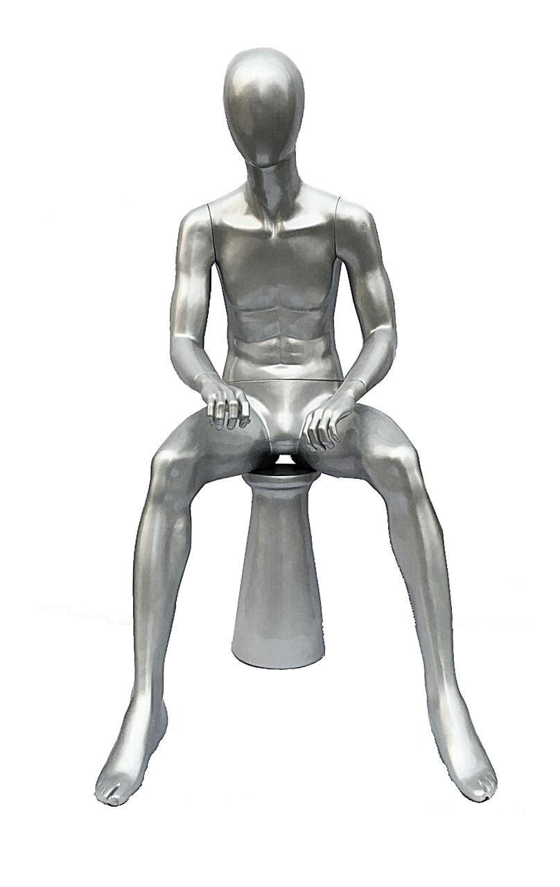 Манекен сидячий серебренный лаковый