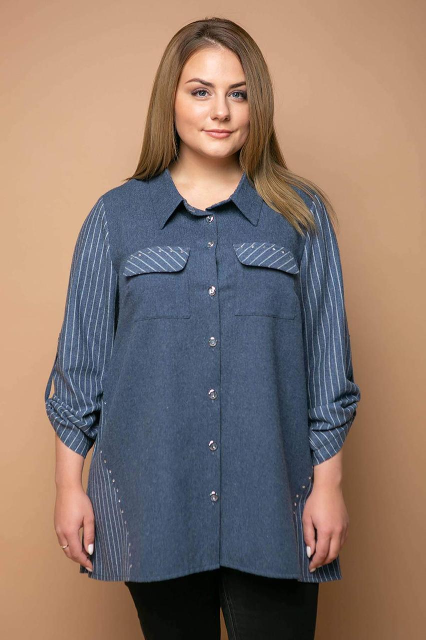 Удлиненная комбинированная рубашка ТВИКС синяя (54-60)
