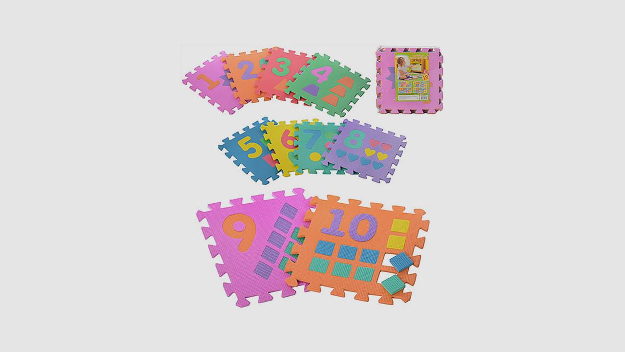 Детский коврик мозаика. Собирается как пазл из 10 деталей рисунок цифры.