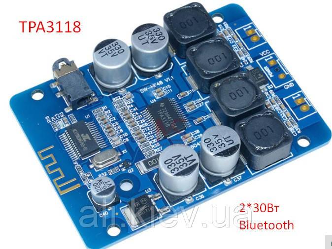 Усилитель  D-клас TPA3118 2*30Вт AUX Bluetooth Підсилювач плата модуль 8-26В
