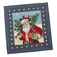 """Салфетка под тарелку  """"Дед Мороз"""", 17*18 см (только по 6 штук), гобелен"""