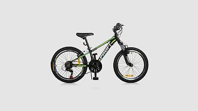Велосипед PROFI KID A315. 20 дюймовые колеса. 21 SP. Черно-салатовый
