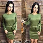 """Стильное замшевое платье """"Плотный замш"""" с поясом, фото 4"""