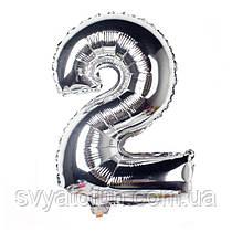 Фольгированный шар-цифра 2 серебро 70см Китай