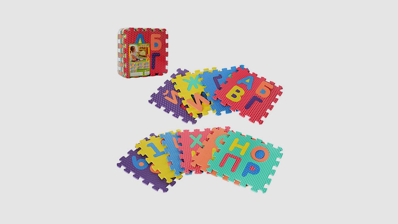 Детский коврик мозаика. Собирается пазл из 10 деталей рисунок алфавит и цифры.