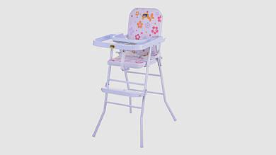 Стульчик для кормления с регулируемым столиком. Розового цвета
