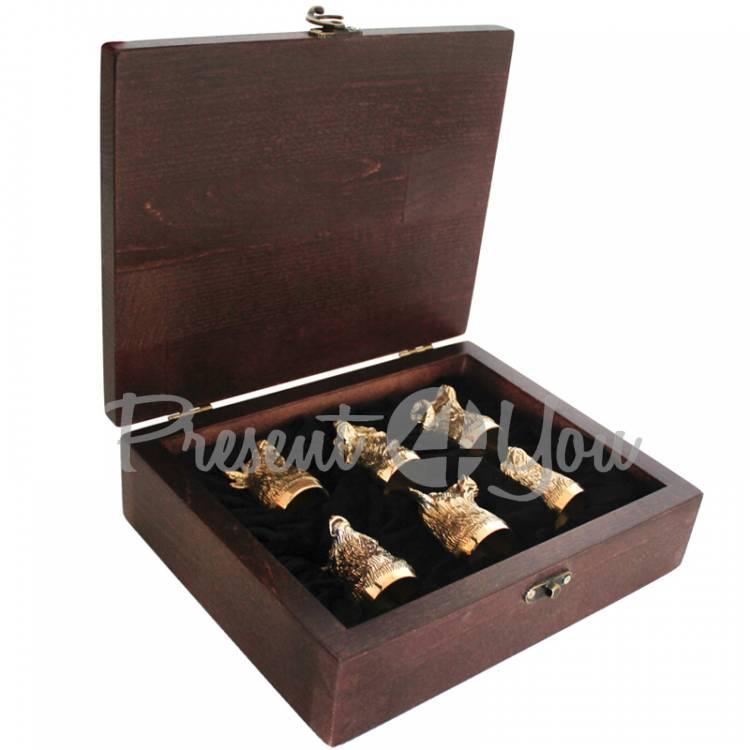 Набор рюмок в кейсе 6 шт «Охотничьих», h-6 см, 300мл; 8х29х23 см (187-2005)