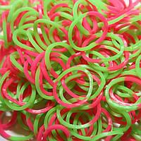 Резиночки для плетения браслетов rainbow loom bands - двухцветные - розово-салатовые