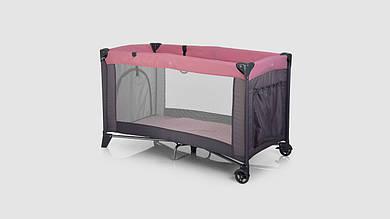 Манеж детский EL CAMINO SAFE вход-змейка. 2 колеса 2 кольца карман. Розово-серый