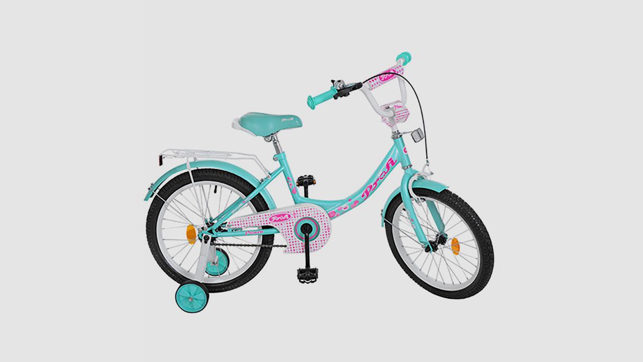 Велосипед детский PROF1 Princess Y1812 18 дюймовые колеса. Мятный.