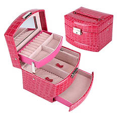 Шкатулка - автомат для украшений малиновая (красно-розовая)