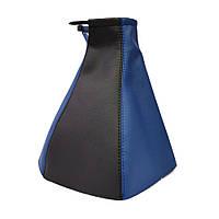 Чехол ручки КПП ВАЗ 2110-12 (Черно-синий кожзам)
