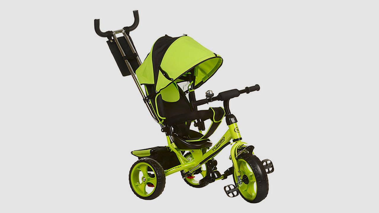 Велосипед триколісний TURBOTRIKE - колясочний. Салатового кольору