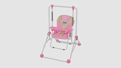 Качели BAMBI 2в1 (качели и стульчик). С ремнем безопасности. Розового цвета