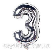 Фольгированный шар-цифра 3 серебро 70 см Китай
