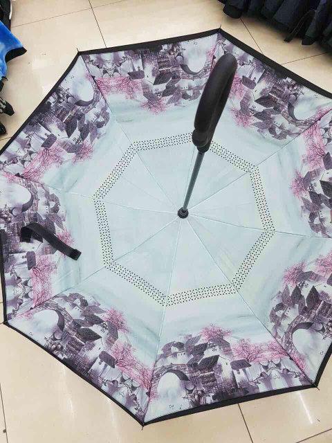 Ветрозащитный зонт обратного сложения UP-brella, АП брелла зонт с ветрозащитой, умный зонт. Акция! Дом у озера