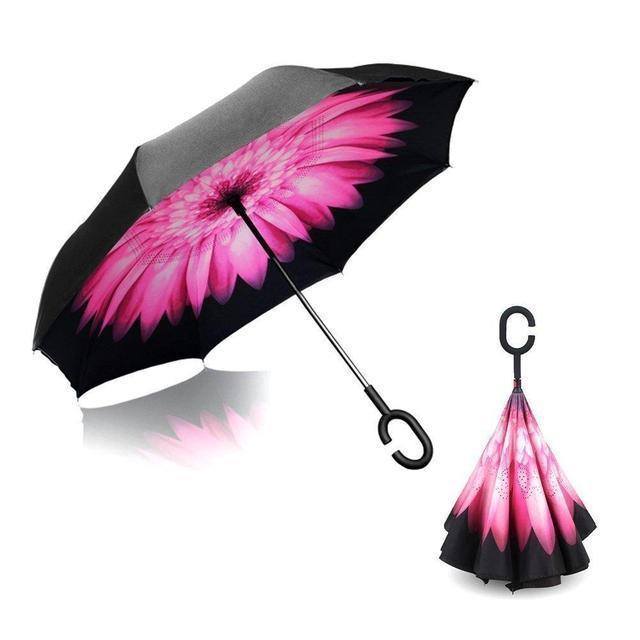 Ветрозащитный зонт обратного сложения UP-brella, АП брелла зонт с ветрозащитой умный зонт.Акция!Розовый цветок