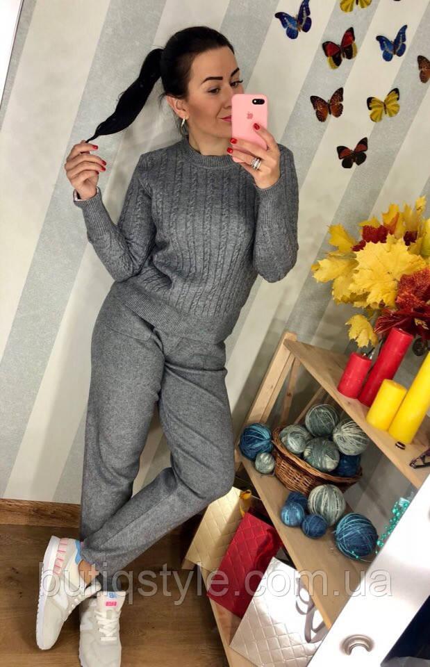 Стильный женский костюм вязка косыбрюки и свитер  серый
