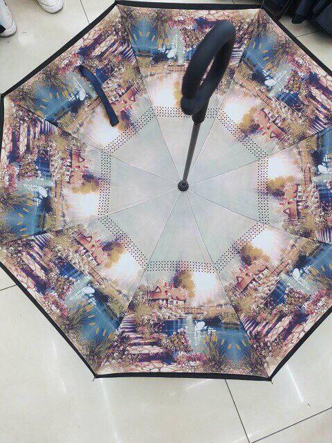 Ветрозащитный зонт обратного сложения UP-brella, АП брелла зонт с ветрозащитой умный зонт. Акция! Город
