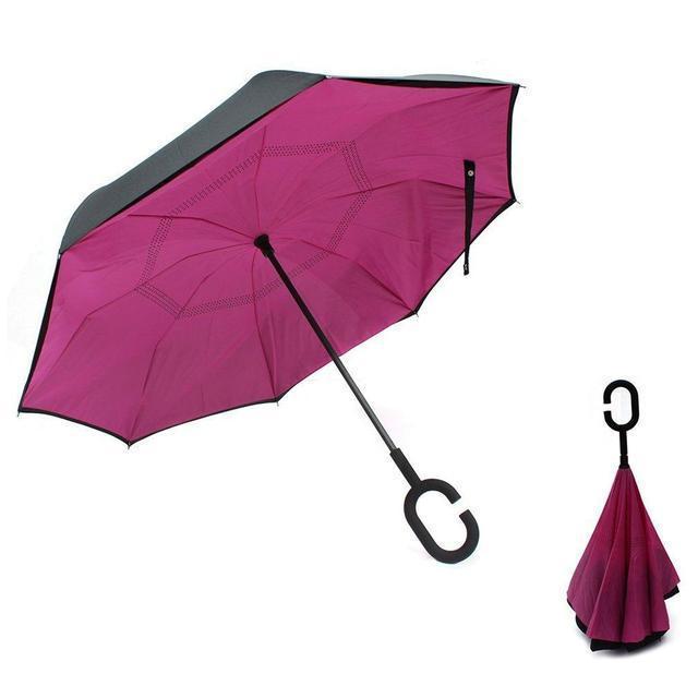 Ветрозащитный зонт обратного сложения UP-brella, АП брелла зонт с ветрозащитой умный зонт. Акция! Розовый