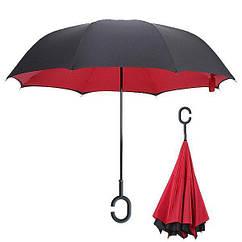 Ветрозащитный зонт обратного сложения UP-brella, АП брелла зонт с ветрозащитой умный зонт. Акция!темно-красный