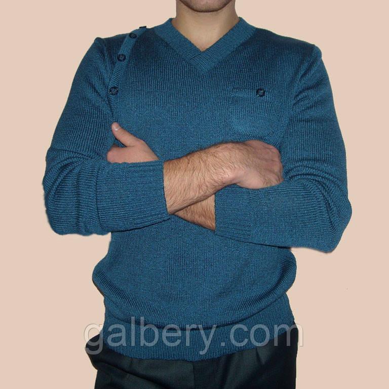 Вязаный мужской свитер машинной вязки с V-образным вырезом джинсового цвета