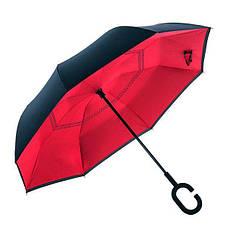 Ветрозащитный зонт обратного сложения UP-brella, АП брелла зонт с ветрозащитой умный зонт. Акция! Красный
