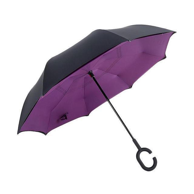 Ветрозащитный зонт обратного сложения UP-brella, АП брелла зонт с ветрозащитой умный зонт. Акция! Фиолетовый