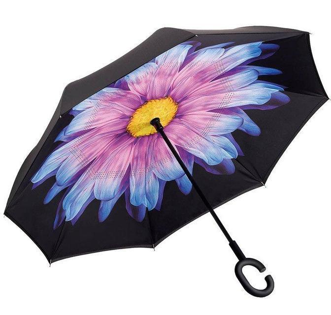 Ветрозащитный зонт обратного сложения UP-brella, АП брелла зонт с ветрозащитой умный зонт.Акция!Цветок
