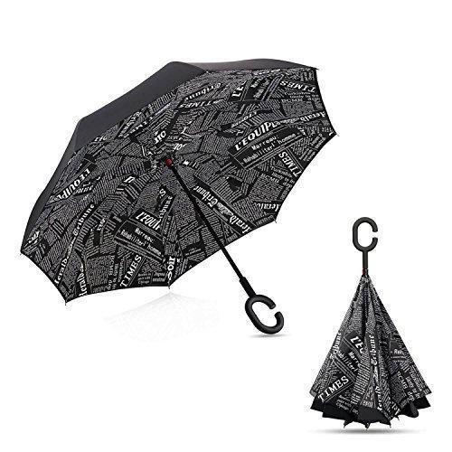 Ветрозащитный зонт обратного сложения UP-brella, АП брелла зонт с ветрозащитой умный зонт.Акция! Чёрный журнал