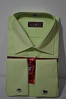 Мужская салатовая рубашка под запонку BENDU (размер 39.40.41.42.43.44.45.46), фото 1