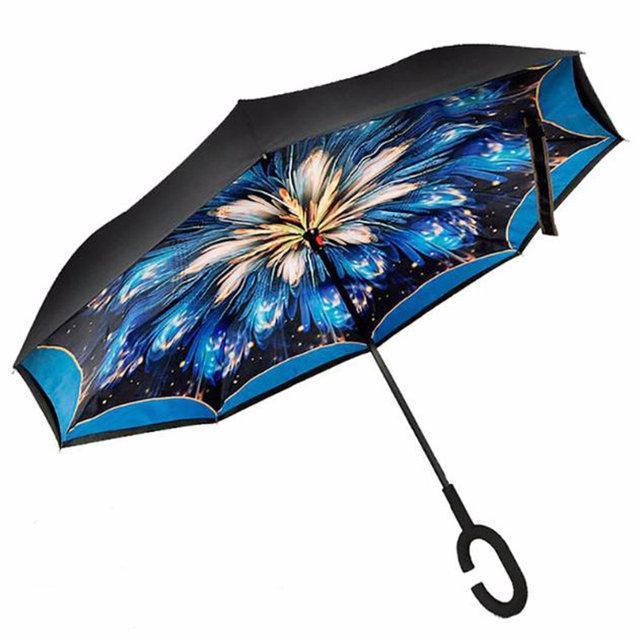 Ветрозащитный зонт обратного сложения UP-brella, АП брелла зонт с ветрозащитой умный зонт. Акция! Фейерверк