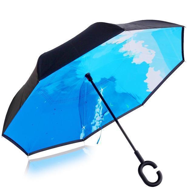 Ветрозащитный зонт обратного сложения UP-brella, АП брелла зонт с ветрозащитой умный зонт. Акция! Небо