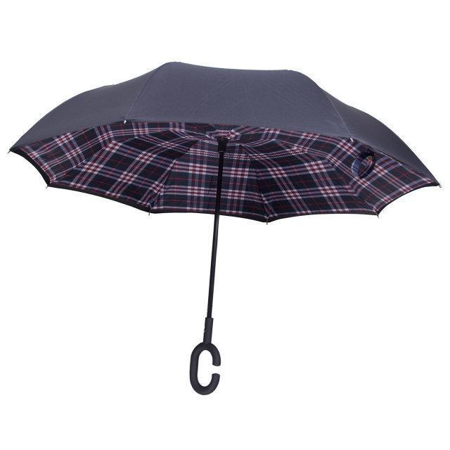 Ветрозащитный зонт обратного сложения UP-brella, АП брелла зонт с ветрозащитой умный зонт.Акция!Красная клетка