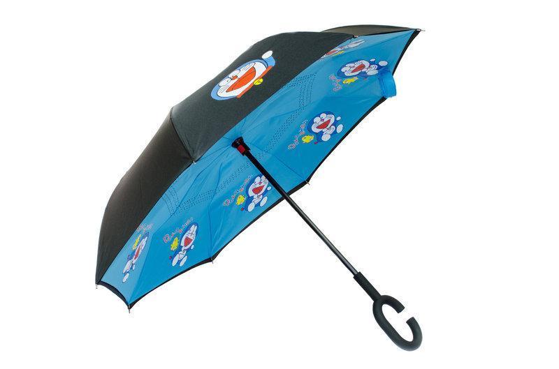 Ветрозащитный зонт обратного сложения UP-brella детский, АП брелла зонт с ветрозащитой умный зонт. Doraemon