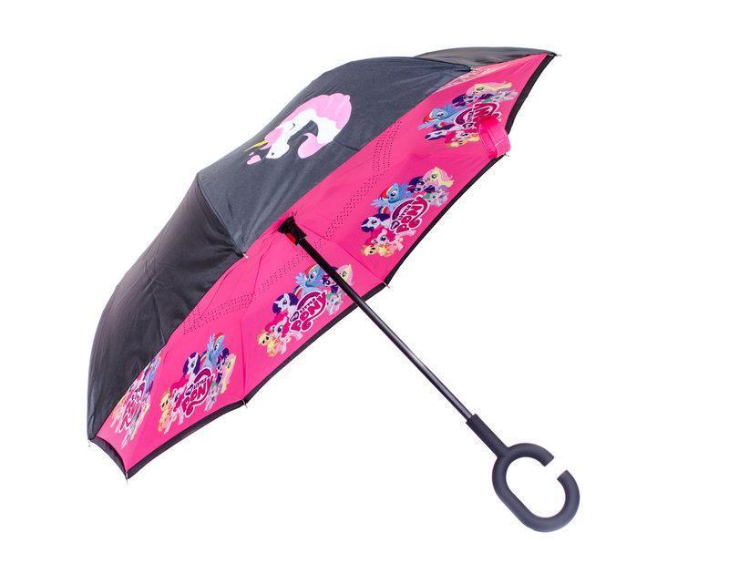 Ветрозащитный зонт обратного сложения UP-brella детский, АП брелла зонт с ветрозащитой умный зонт. Pony