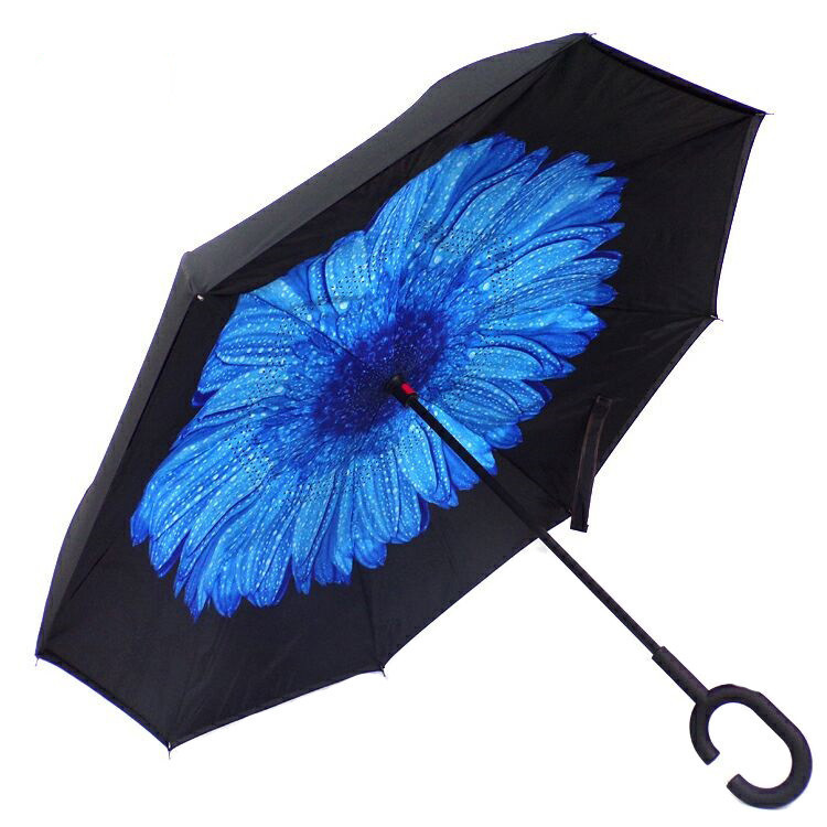 Ветрозащитный зонт обратного сложения UP-brella, АП брелла зонт с ветрозащитой умный зонт, Бегония синяя (G77)