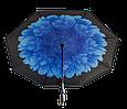 Ветрозащитный зонт обратного сложения UP-brella, АП брелла зонт с ветрозащитой умный зонт, Бегония синяя (G77), фото 2