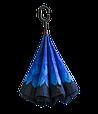 Ветрозащитный зонт обратного сложения UP-brella, АП брелла зонт с ветрозащитой умный зонт, Бегония синяя (G77), фото 3